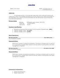 formidable resume objective examples for personal banker with