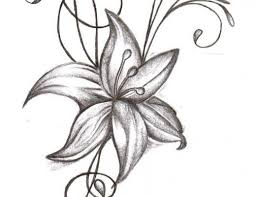 a black and white tulip lily and daffodil bouquet tattoo design