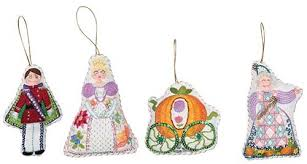 on set of 4 cinderella crewel ornaments kits