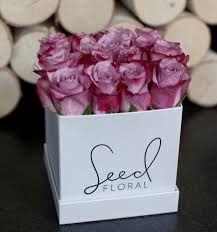 Lavender Roses Square Seed Box White With Lavender Roses In West Hollywood Ca