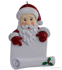 wholesale resin santa scroll ornaments as personalized