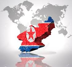 World Map Korea Map Of North Korea With Korean Flag On A World Map Background