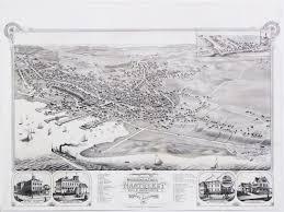 Nantucket Map Stunning Bird U0027s Eye View Of The Town Of Nantucket Rare U0026 Antique