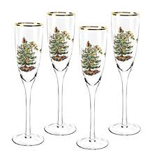 spode tree chagne flutes set of 4