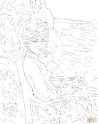 by the seashore by pierre auguste renoir painting coloring page