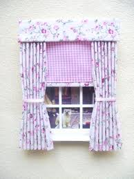 Pink Gingham Curtains Pink Gingham Curtains Miniature Doll House Gingham Curtains Drapes