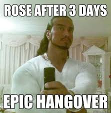 Funny Hangover Memes - rose after 3 days epic hangover guido jesus quickmeme