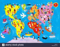 Worlds Of Fun Map by Illustrated World Map Of People Enjoying Having Fun Stock Photo