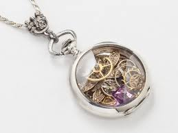 necklace watch images Steampunk necklace sterling silver pocket watch movement with gears jpg