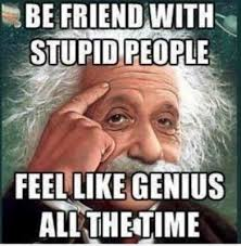 Memes About Stupid People - be friend with stupid people feel like genius all the time funny