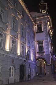 colorful ljubljana city center during december holidays stock image