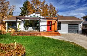 front porch pergola exterior midcentury with glass garage door red