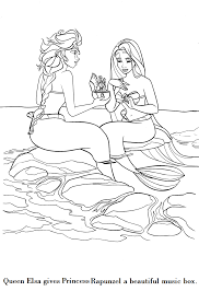 frozen mermaid coloring pages