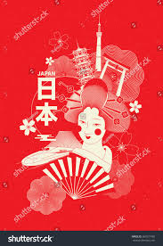 japan tourism posterbrochure template japanese character stock