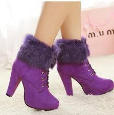 womens ankle boots low heel australia 2015 beautiful rabbit fur suede boots purple black winter