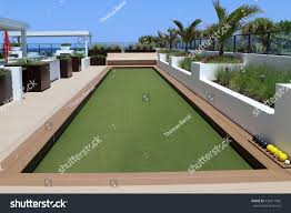 inviting bocce ball court artificial turf stock photo 436611982