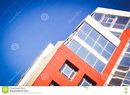 facade of the house red in the high tech style stock photo image