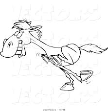 vector of a cartoon galloping horse outlined coloring page by