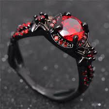 ruby red rings images Fashion flower shiny red ring red garnet women charming engagement jpg