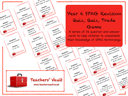 y6 spag revision quiz quiz trade card game ks2 english spelling