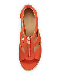 michael michael kors damita canvas wedge sandal in orange lyst