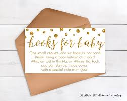 bring a book instead of a card gold baby shower book