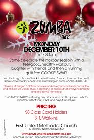 flyer holiday zumba cookie swap amy fournier