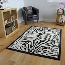 Black And White Zebra Area Rug Safari Animal Black U0026 White Zebra Stripe Print Rug 80cm X 150cm