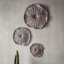 gallery direct lotus set of 3 wall ornaments in bronze next day