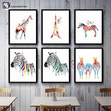 online get cheap zebra print room decor aliexpress com alibaba nicoleshenting watercolor zebra deer minimalist canvas poster print nordic art abstract picture painting home room decoration