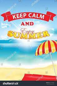 Beach Sun Umbrella Keep Calm Enjoy Summer Beach Sun Stock Vector 441447685 Shutterstock