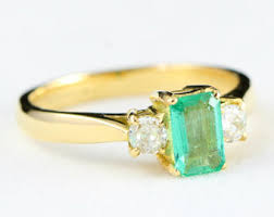 gold emerald engagement rings emerald engagement ring unique engagement ring in 14k gold