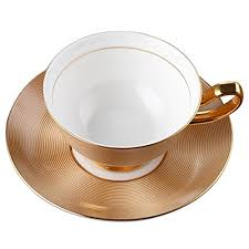 tea cup set porcelain tea cup and saucer coffee cup set golden color with