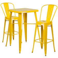 bar stool table set of 2 2375 square yellow metal indoor outdoor bar table set with 2