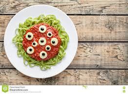 scary halloween monster green spaghetti pasta holiday decoration