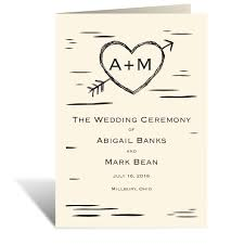 wedding program cover wording birch bark heart wedding program featuring copperplate font