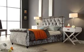 Crushed Velvet Bed Mirage Sleigh Bed In Crushed Velvet 3 Colours In Double King And