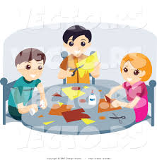 vector of young and two boys doing crafts at a table