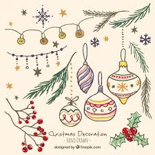 hand drawn beautiful christmas ornaments in vintage style vector