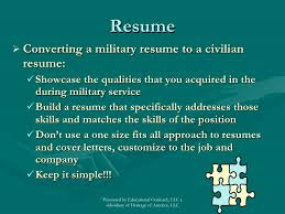 Military To Civilian Resume Military To Civilian Career Transition