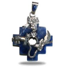 only for gertrud inka cross pendant in sodalite with the trilogy