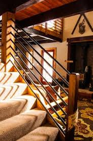 Banister Pipeline Construction Iron Piping Handrail Lends A Rustic Industrial Look Diy And