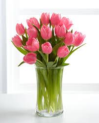 tulip bouquets pink tulips bouquet wih vase at 1 800 florals florist