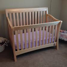 find more natural wood baby cache convertible crib in euc for sale