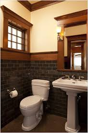 Craftsman Bathroom Lighting Wood Framed Arched Mirror Tile Tile Accents Tile Floor Wall