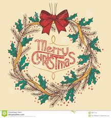 christmas wreath line drawing stock vector image 46597415