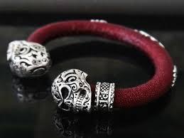 black skull bracelet images Calevera jet black stingray leather silver skull bracelet for men jpg