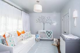 orange and gray boy nursery with slipcovered daybed contemporary