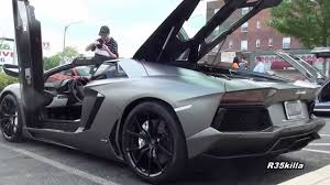 lamborghini aventador rev matte grey aventador roadster start rev accelerate