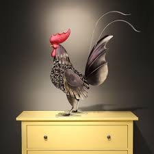 Home Decoration Art Best And Cheap Black Black Iron Rooster Metal Sculpture Home